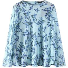 Blue Floral Button Back Flared Sleeve Chiffon Blouse (230.940 IDR) ❤ liked on Polyvore featuring tops, blouses, blue blouse, blue floral top, bell sleeve tops, long blouse and stretch blouse