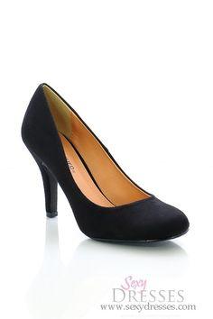 Uptown Girl Black Faux Suede Mid Low Heels