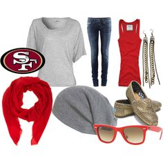 Cute 49ner outfit to wear to a day game.