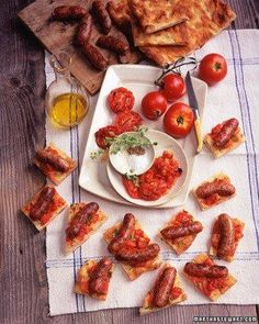 Grilled Italian Sausages and Tomatoes on Focaccia Recipe