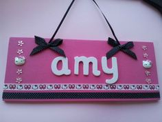 ** HANDMADE PERSONALISED GIRLS HELLO KITTY DOOR PLAQUE ** ANY NAME - GORGEOUS** | eBay