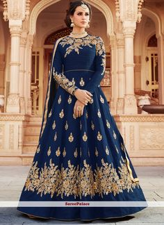 Zaraafab offers beautiful designer navy blue color long anarkali suit and salwar kameez at best price in UK for women. Explore best quality stylish designer anarkali suits and dresses with embroidery work. Eid Dresses, Party Wear Dresses, Pakistani Dresses, Indian Dresses, Indian Outfits, Bridal Dresses, Fashion Dresses, Bridesmaid Dresses, Robe Anarkali