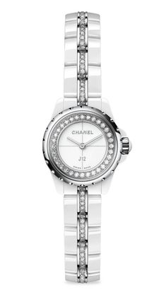 """CHANEL J12 XS Diamond, Ceramic & Stainless Steel Bracelet Watch. From the J12 Collection Quartz movement Water resistant to 500 meters Round white ceramic case, 19mm (0.75"""") Scratch-resistant sapphire crystal Stainless steel crown with white spinel cabochon Stainless steel bezel with 32 diamonds, 0.27 tcw White lacquered dial White high-tech ceramic bracelet set with 116 brilliant-cut diamonds, 1.00 tcw Made in Switzerland Vintage Earrings, Vintage Jewelry, Chanel J12, Handbags Online, Chanel Handbags, Vintage Chanel, Stainless Steel Bracelet, Bracelet Set, Switzerland"""