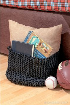 Use paracord to make this DIY catch-all for next to the couch.
