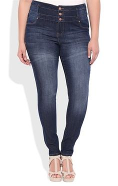 Deb Shops Plus Size High Waisted Jegging with 3 Buttons $27.00