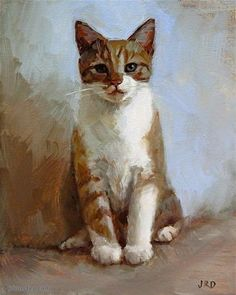 "Daily Paintworks - ""Seated Kitten"" - Original Fine Art for Sale - © J. Dunster"