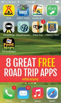 8 Great Free Roadtrip Apps – Camping Tips, Checklists & Gear – Road Trip Road Trip Usa, Road Trip Packing, Road Trip Essentials, Road Trip Hacks, Road Trip Food, Packing Tips, Road Trip With Kids, Family Road Trips, Family Vacations