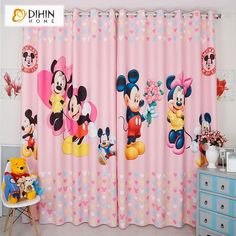 DIHINHOME Home Textile Kid's Curtain DIHIN HOME 3D Printed Pink Mickey Blackout Curtains,Window Curtains Grommet Curtain For Living Room ,39x102-inch,2 Panels Included Printed Curtains, Kids Curtains, Window Curtains, Rod Pocket Curtains, Grommet Curtains, Blackout Curtains, Curtain Length, Room Darkening