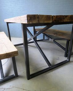 Reclaimed Industrial Chic X Style 6-8 Seater Solid Wood & Metal Dining Table.Bar and Cafe Restaurant Furniture Steel Wood Made to Measure