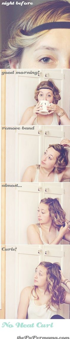 27. No Heat Curl #Headband - 34 Honestly Good #Heatless Hairstyles to Try out ... → Hair #Curls