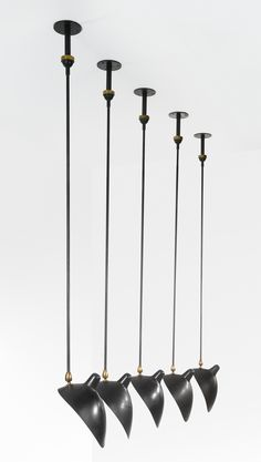 Serge Mouille; Enameled Metal and Brass Ceiling Lights, 1950s.