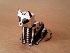 Halloween - Skeleton Cat Free Paper Toy Download - http://www.papercraftsquare.com/halloween-skeleton-cat-free-paper-toy-download.html#Cat, #Halloween, #Skeleton