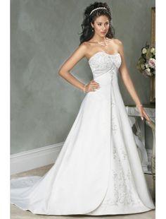 Ärmellos Kapelle Schleppe Schnürung Liebsten Weiß Brautkleid