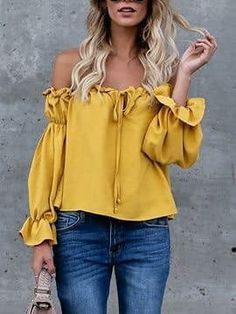 Yellow Off Shoulder Bow Tie Front Long Sleeve Blouse Camouflage T Shirts, Latest Fashion For Women, Womens Fashion, Dress Plus Size, Yellow Blouse, Corsage, Shirt Blouses, Casual Outfits, Casual Clothes