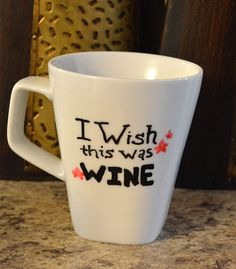 Funny Coffee Mug - I Wish This Was Wine - Hand painted coffee tea cup mugs Cheers, Cooking Photos, Cooking Tips, Wine Craft, Wine Wednesday, Wine Quotes, Wine O Clock, Painted Wine Glasses, In Vino Veritas