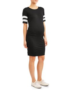 51dd4bf41d Planet Motherhood - Maternity Striped Sleeve Body Con Midi Dress -  Walmart.com