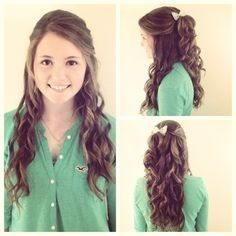 half up half down with curls and bow