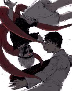 Ken Kaneki et Amon Kotaro - Tokyo Ghoul Cat Anime, Anime Manga, Anime Guys, Anime Art, Kaneki, Angel Beats, Mirai Nikki, Death Note, Ghibli