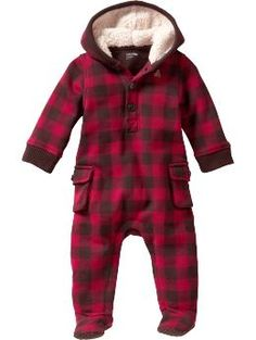 Baby Clothing: Baby Boy Clothing: Cargo plaid hoodie one-piece: Copper Mountain   Gap