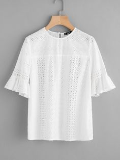 c5714f179bbf0 White Ruffle Trim Sleeve Eyelet Embroidery Top