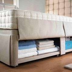 What a great storage solution. The hideaway bed base from Hypnos. Made slightly higher than a standard divan base to allocate more space to storage. The whole divan base, covered by weighted upholstery strips, is open storage. Also available in a choice of fabrics.