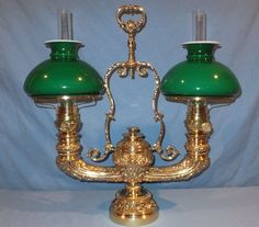 1870's Victorian Figural Double Brass Harvard Student Oil Lamp