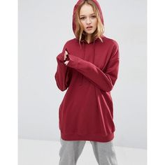 ASOS Ultimate Oversized Pullover Hoodie (€34) ❤ liked on Polyvore featuring tops, hoodies, hooded pullover, red hooded sweatshirt, sweater pullover, red top and hooded pullover sweatshirt