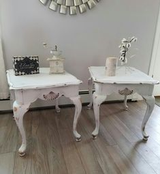 Shabby, distressed cute end tables. This is the pair to the single end table I pinned :) Single pic of the repurposed,  upcycled and refinished old oak end tables. Painted in Rustoleums Linen White, Minwax stain, very distressed sealed with clear matte wax. So cute! You can see more on my FB Page. https://www.facebook.com/ChicandShabbyFurnitureByRebecca/