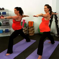 10-Minute Prenatal Yoga Strength Series.  there's a stretching one too, both are videos.
