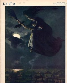 1913 Life October 30 Halloween Witch ON A Broom Maxfield Parrish Love ON Wheels | eBay