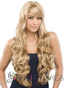 Custom Long Wavy Blonde Side Bang African American Wigs for Women 26 Inch