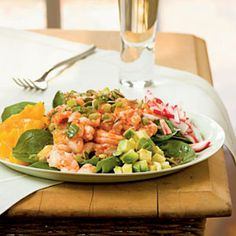 Caribbean Shrimp Salad with Lime Vinaigrette--served on baby spinach with mangos, radishes and avocados.