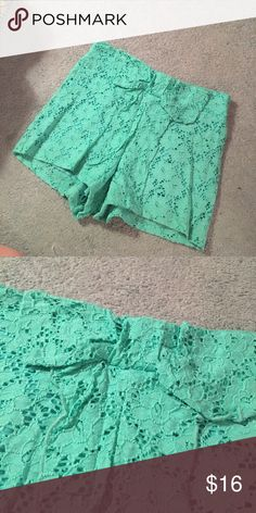 Lace shorts with bow Lace shorts with bow at the top high waisted mint Love Culture Shorts