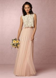 cb15120864 Lace Fabric Natural Waist Jewel Two Piece Floor Length Marvelous Bridesmaid  Dress