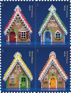gingerbread houses - USA 2013 holiday postage stamps #christmas #holidays #mail