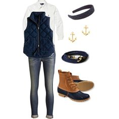 A fashion look from February 2013 featuring Polo Ralph Lauren tops, J.Crew vests and rag & bone jeans. Browse and shop related looks.