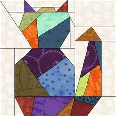 Crazy Cat Two Paper Piece Quilt Block