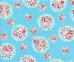 Flower Sugar Posy Blue Cotton Fabric by Lecien