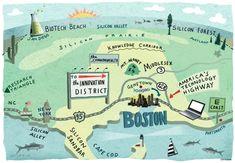 Techie map of Boston by Leo Acadia - Aka John S. Dykes