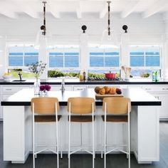 Coastal kitchens deserve their share of flavorful twists―from pastel pink appliances to splashy light fixtures. We give these cooking spaces five stars for originality and presentation.