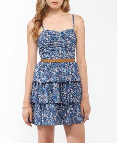 Flounced Floral Dress w/ Belt | FOREVER21 - 2000047001. My roommate had a dress like this, and I always loved it.