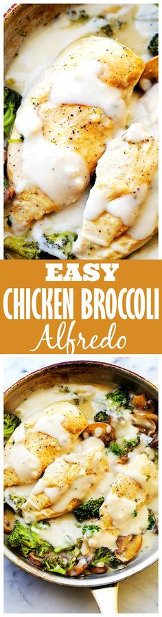 Easy Creamy Broccoli Chicken Alfredo - Easy, deliciously creamy, 30-minute chicken and broccoli recipe, topped with a lightened-up, homemade alfredo sauce.
