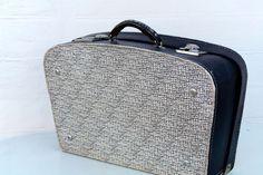 Vintage suitcase Old luggage black white leatherette Traveling bag Retro storage Shabby Chic Trunk - http://oleantravel.com/vintage-suitcase-old-luggage-black-white-leatherette-traveling-bag-retro-storage-shabby-chic-trunk