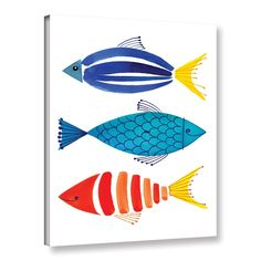 Beachcrest Home Margaret Berg Summer Fish Trio Painting Print on Wrapped Canvas & Reviews | Wayfair