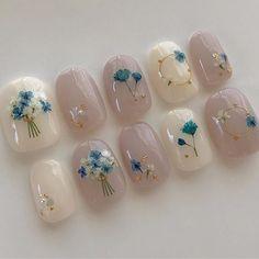 Asian Nail Art, Asian Nails, Korean Nail Art, Cute Acrylic Nails, Cute Nails, Art Deco Nails, Subtle Nail Art, Cute Nail Art Designs, Kawaii Nails