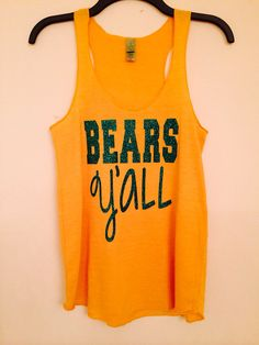 Bears Y'all Tank Baylor University Green Glitter on Etsy, $30.00