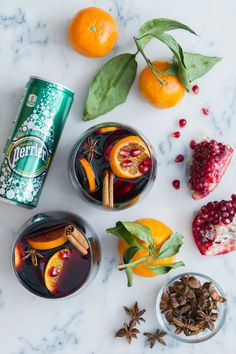 Winter Sangria is totally a thing. Add Perrier for an extra sparkly, extraordinary punch to share with family and friends. Ingredients: Fresh pomegranate arils (seeds), cinnamon sticks, anise pods for garnish, bottle of dry red wine, chilled, 1 cup brandy, 6 fresh satsuma oranges or juice oranges - 4 for juice, 2 for garnish, Perrier® Original Sparkling Natural Mineral Water, mix in a pitcher, serve in wineglasses. Click through for the full recipe and more mixology.