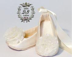 Satin Flower Girl Shoe Neutral Colors 23 colors by BabySouls