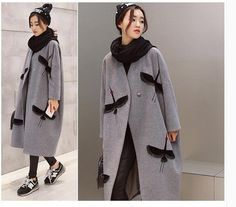 Women Winter Wool Blend Cloak 2016 Long Woolen Outerwear Double Side Wool Overcoat Trench Quilted Thick Crane Embroidery Coat