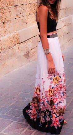 Floral ombre maxi skirt + black crop